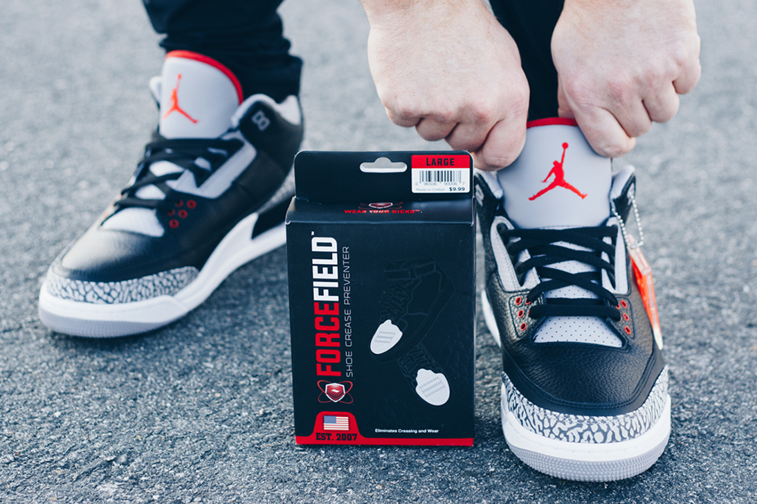 Air Jordan 3 Black Cement protected with ForceField Crease Preventers